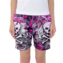 Pink Skull Splatter Women s Basketball Shorts