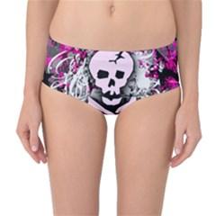 Pink Skull Splatter Mid-Waist Bikini Bottoms