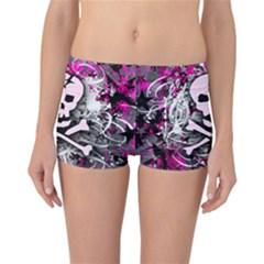 Pink Skull Splatter Reversible Boyleg Bikini Bottoms