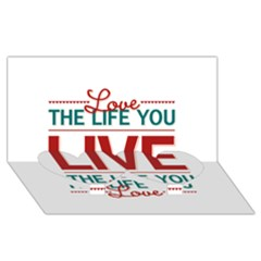 Love The Life You Live Twin Heart Bottom 3D Greeting Card (8x4)