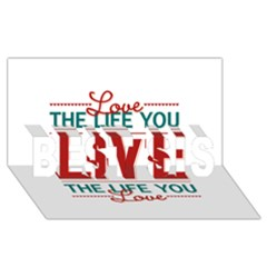 Love The Life You Live BEST SIS 3D Greeting Card (8x4)