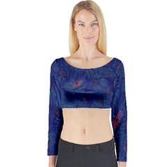 Blue Sphere Long Sleeve Crop Top