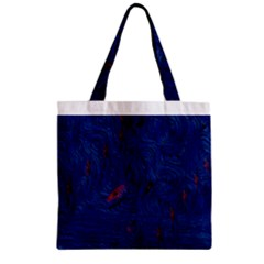 Blue Sphere Zipper Grocery Tote Bags