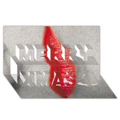 Lips Merry Xmas 3D Greeting Card (8x4)