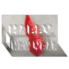 Lips Happy New Year 3d Greeting Card (8x4)