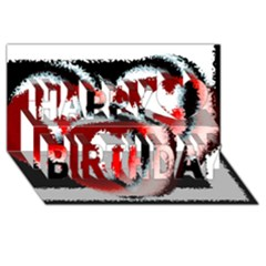 Heart Time 3 Happy Birthday 3D Greeting Card (8x4)
