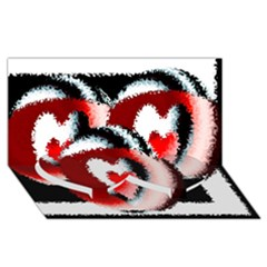 Heart Time 3 Twin Heart Bottom 3D Greeting Card (8x4)