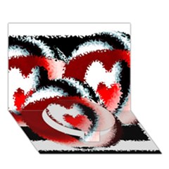 Heart Time 3 Circle Bottom 3D Greeting Card (7x5)