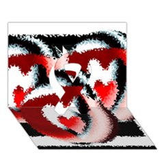 Heart Time 3 Ribbon 3d Greeting Card (7x5)