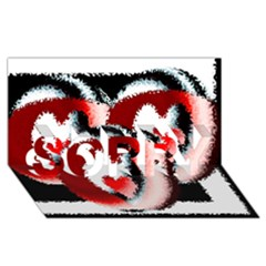 Heart Time 3 Sorry 3d Greeting Card (8x4)