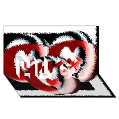 Heart Time 3 HUGS 3D Greeting Card (8x4)