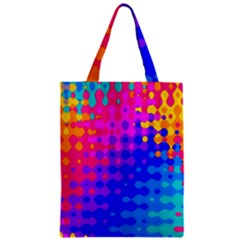 Totally Trippy Hippy Rainbow Zipper Classic Tote Bags