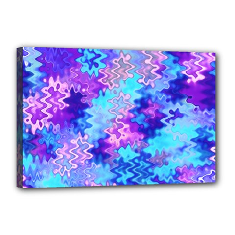 Blue And Purple Marble Waves Canvas 18  X 12