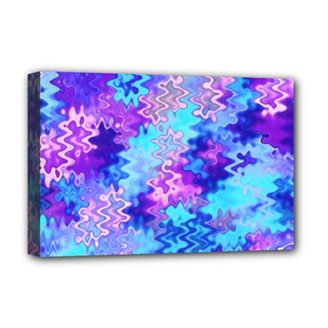 Blue And Purple Marble Waves Deluxe Canvas 18  X 12