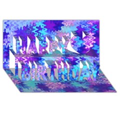 Blue and Purple Marble Waves Happy Birthday 3D Greeting Card (8x4)