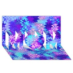 Blue and Purple Marble Waves MOM 3D Greeting Card (8x4)