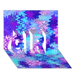 Blue and Purple Marble Waves GIRL 3D Greeting Card (7x5)