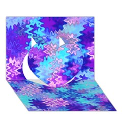 Blue and Purple Marble Waves Heart 3D Greeting Card (7x5)
