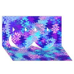 Blue and Purple Marble Waves Twin Hearts 3D Greeting Card (8x4)