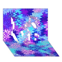 Blue and Purple Marble Waves LOVE 3D Greeting Card (7x5)