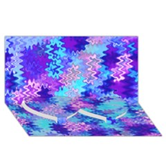 Blue and Purple Marble Waves Twin Heart Bottom 3D Greeting Card (8x4)