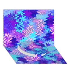 Blue and Purple Marble Waves Circle Bottom 3D Greeting Card (7x5)