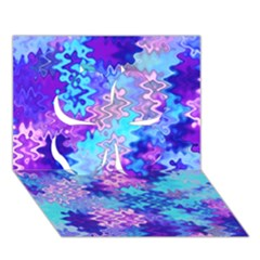 Blue And Purple Marble Waves Clover 3d Greeting Card (7x5)
