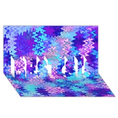 Blue And Purple Marble Waves Best Sis 3d Greeting Card (8x4)