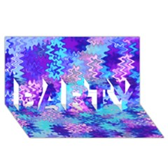 Blue And Purple Marble Waves Party 3d Greeting Card (8x4)