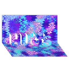 Blue And Purple Marble Waves Hugs 3d Greeting Card (8x4)