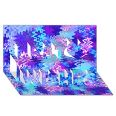 Blue and Purple Marble Waves Best Wish 3D Greeting Card (8x4)