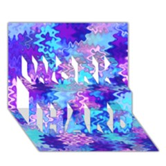 Blue and Purple Marble Waves WORK HARD 3D Greeting Card (7x5)