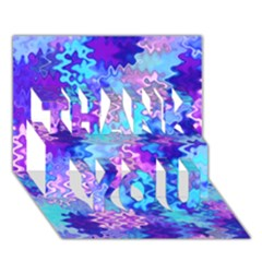 Blue and Purple Marble Waves THANK YOU 3D Greeting Card (7x5)