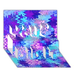 Blue and Purple Marble Waves You Did It 3D Greeting Card (7x5)