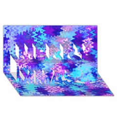 Blue And Purple Marble Waves Merry Xmas 3d Greeting Card (8x4)