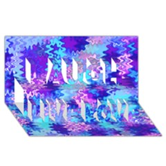Blue and Purple Marble Waves Laugh Live Love 3D Greeting Card (8x4)
