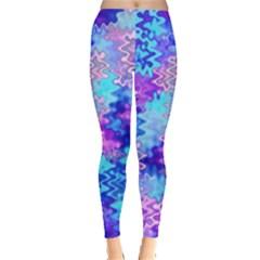Blue and Purple Marble Waves Women s Leggings