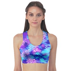 Blue and Purple Marble Waves Sports Bra
