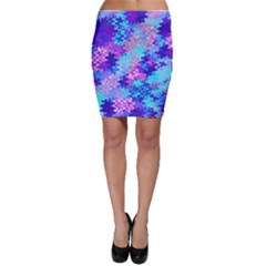 Blue and Purple Marble Waves Bodycon Skirts