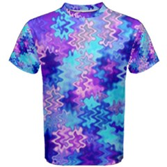 Blue and Purple Marble Waves Men s Cotton Tees