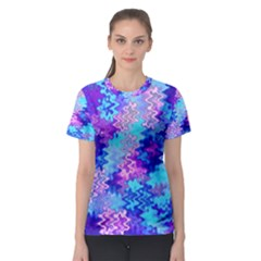 Blue and Purple Marble Waves Women s Sport Mesh Tees