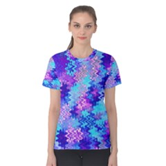 Blue and Purple Marble Waves Women s Cotton Tees