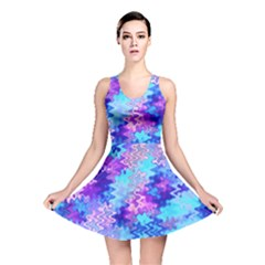 Blue and Purple Marble Waves Reversible Skater Dresses