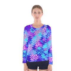 Blue and Purple Marble Waves Women s Long Sleeve T-shirts