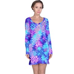 Blue And Purple Marble Waves Long Sleeve Nightdresses