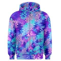 Blue And Purple Marble Waves Men s Zipper Hoodies