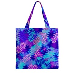 Blue and Purple Marble Waves Zipper Grocery Tote Bags