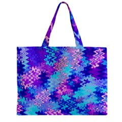 Blue and Purple Marble Waves Zipper Tiny Tote Bags