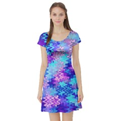 Blue and Purple Marble Waves Short Sleeve Skater Dresses