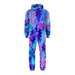 Blue and Purple Marble Waves Hooded Jumpsuit (Kids)
